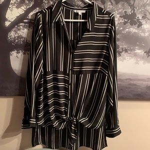 Light and flowing black & white dressy top
